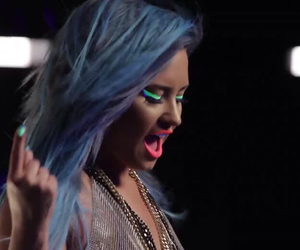 demi lovato, hair, and neon lights image