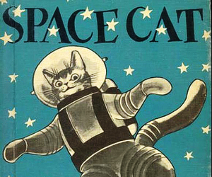 cat, space, and book image