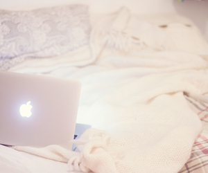bed, girly, and macbook image