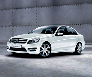 benz, black and white, and car image