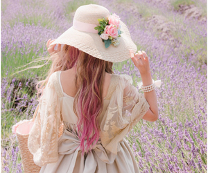 field, girl, and hat image