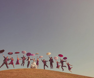 wedding, umbrella, and jump image