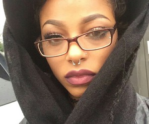 nose piercing, beauty, and glasses image