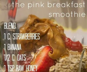 smoothie, strawberry, and breakfast image