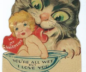 valentine, cat, and kitten image