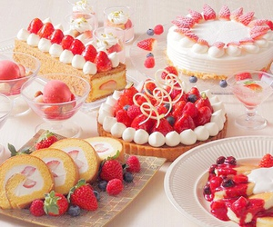 strawberry, cake, and sweet image