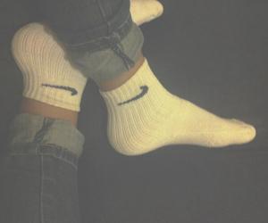 black, nike, and socks image