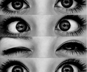 eyes, black and white, and makeup image