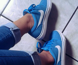 blue, love, and nike image