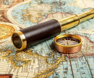 compass, map, and world image