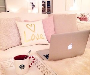 bed, cozy, and cushion image