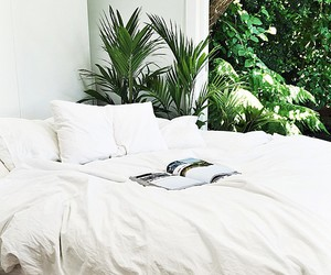bed, nature, and green image