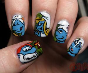 nails, smurfs, and nail art image