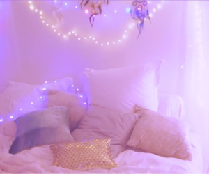 bed, pink, and sky image