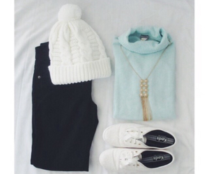 beanie, white, and black jeans image
