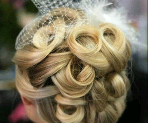 hair, wedding, and heart image