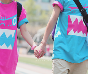 couple, blue, and pink image