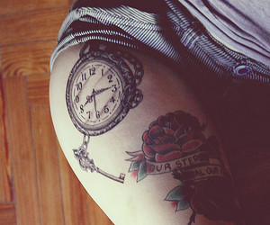 tattoo, clock, and flower image