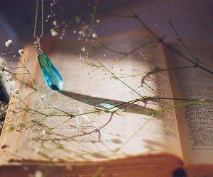book, flowers, and crystal image