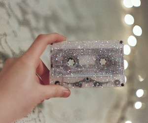 glitter, cassette, and music image