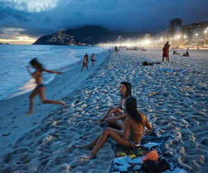 beach, summer, and night image