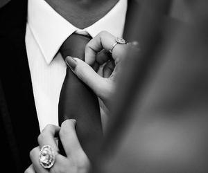black, tie, and white image