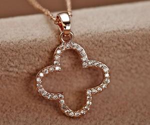 pendant necklace, clover necklace, and flower pendant necklace image