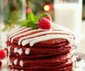 pancakes, food, and red velvet image