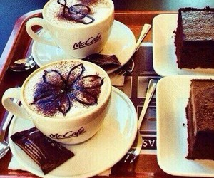 coffee, chocolate, and cake image