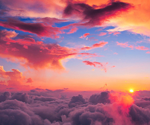 sky, clouds, and sun image