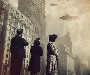 city, ufo, and vintage image