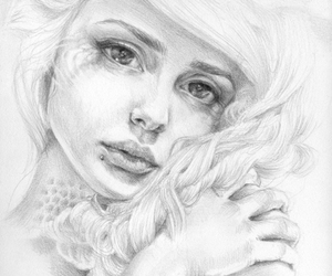 drawing, girl, and black and white image