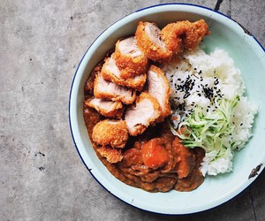 curry, rice, and japanese food image