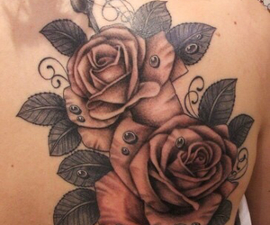 rose, tattoo, and roses image