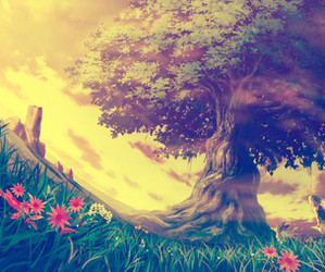 anime, flowers, and tree image