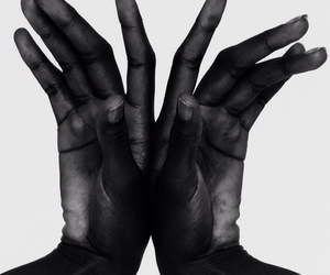 black and white, hands, and black image
