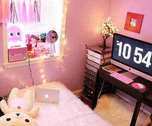 cute room, pink, and string lights image