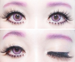 eyes, kawaii, and purple image