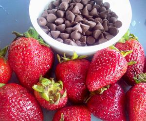 chocolate, chocolate chips, and strawberries image