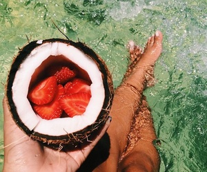 summer, strawberry, and coconut image