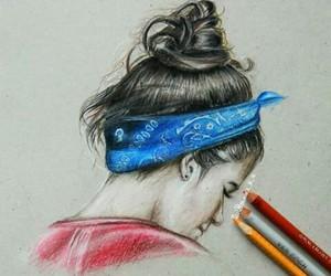 art, bandana, and bun image