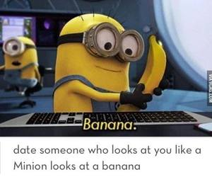 minions, banana, and love image