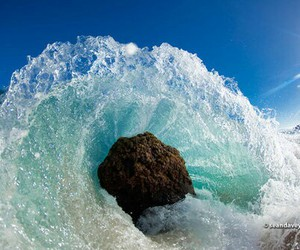 beach, ocean, and wave image