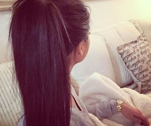 hair, brunette, and ponytail image