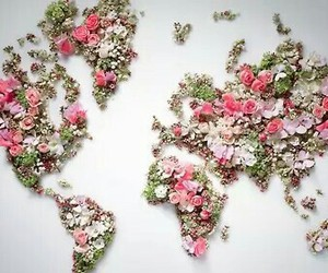world, flowers, and map image