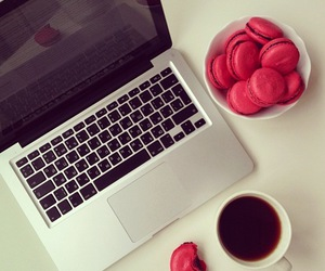 coffee, pink, and laptop image