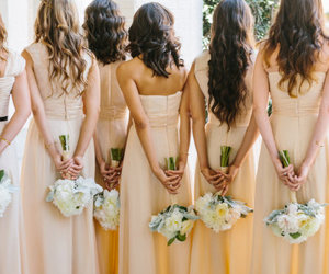 bridemaid, bride, and dress image