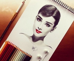 art, celebrity, and audrey hepburn image