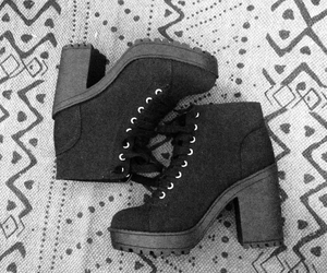 black, booties, and fashion image