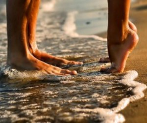 couple, foot, and sea image